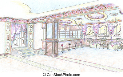Sketch of restaurant hall with bar