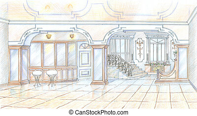 Sketch of restaurant in classic style