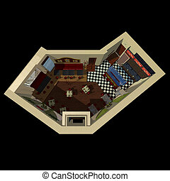 3D view on the layout of coffee house