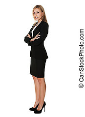 Young businesswoman standing confidently on white