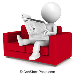 Good News - 3D little human character sitting in the sofa...