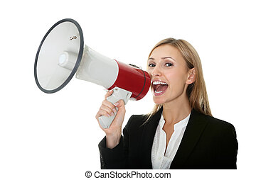 Business woman giving instructions with megaphone - Excited...