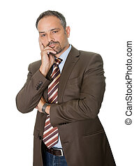 Thoughtful mature businessman on white background -...