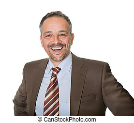 Portrait of successful mature executive smiling isolated on...