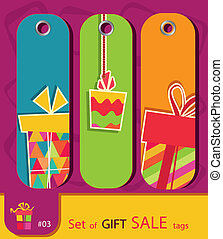 Set of retro sale gift tags