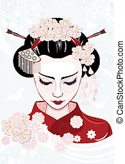 Beautiful japanese woman - vector illustration