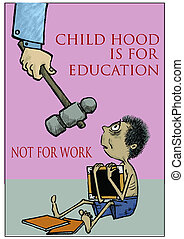 stop child labour - a child study at the same time a man...