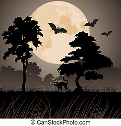 moon and silhouettes of trees
