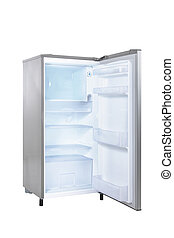 open single door fridge isolated on white background