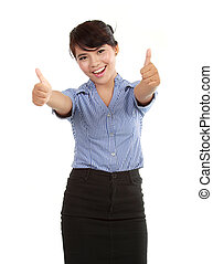 happy business woman showing her thumbs up celebrating...