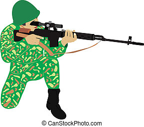 The sniper with a rifle