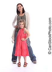 Mother daughter family fun standing together - Family love...
