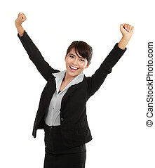 young business woman celebrating success - Portrait of happy...