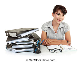 business women smiling in an office environment - portrait...