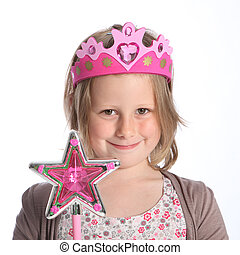 jonge, meisje, elfje, prinsesje, zich verbeelden, jurkje,...