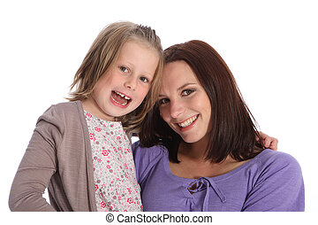Mother and daughter family portrait happy smiles