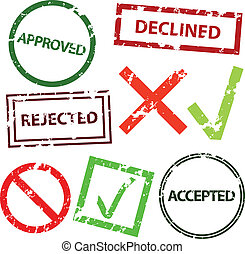 some titles - approved, declined, rejected and accepted