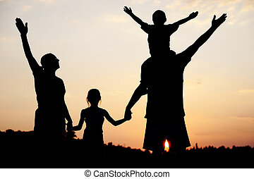 Silhouette, happy children with mother and father, family at...