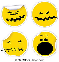 Set of Halloween yellow smiles labels