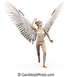 perplexed - a female angel in a pose and expression