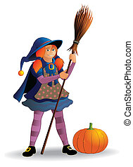Girl in witch costume - witch with broom and pumpkin