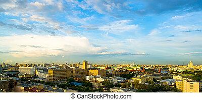 Moscow city center evening skyline
