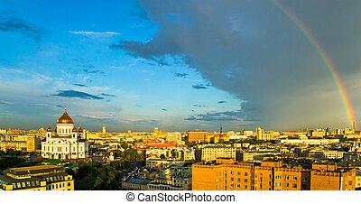 Rainbow over Moscow skyline