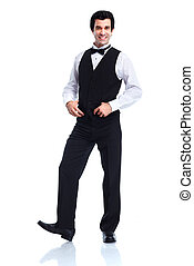 Waiter - Smiling handsome waiter Isolated over white...