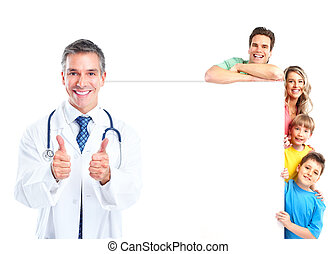 Doctor. - Smiling medical doctor. Isolated over white...