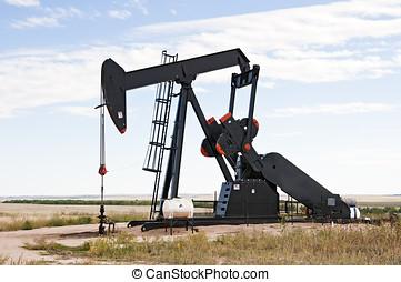 Pump jack in south central Colorado, USA - Pump jack...