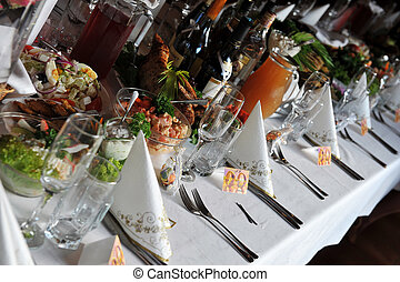 table with food and drink