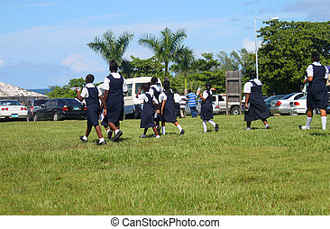 Bahamian students in uniform - Students from the Bahamas...