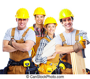 Contractors workers people. - Smiling contractors workers....