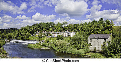 Liffey valley and river - River Liffey and houses in Lucan...