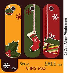 Set of retro sale xmas tags