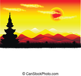 Landscape: Mountains at sunset
