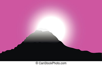 Mountain at sunset - High mountain by the sunset - vector