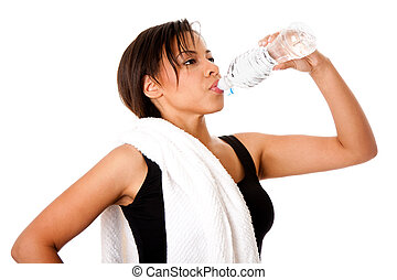 Rehydrating drinking water after workout - Beautiful...