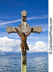 Jesuschrist Statue with Lake Leman backwards