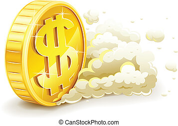 rolling gold coin with dollar sign. Vector illustration...