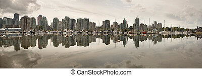 Vancouver BC Waterfront Skyline from Stanley Park