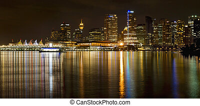 Vancouver BC Skyline from Stanley Park at Night