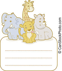 Sticker - Safari Animals - Vector illustration of a group of...