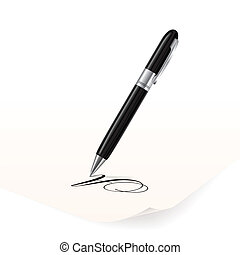 Pen - Vector image of black pen writing on paper