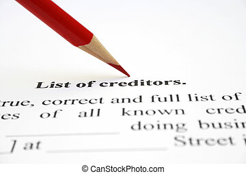 List of creditors