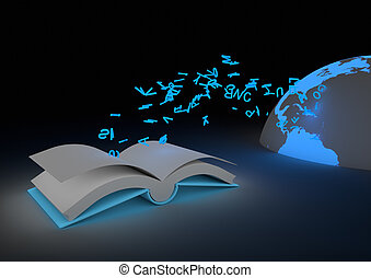 Ebook concept - render of a stream of letters flying to the...