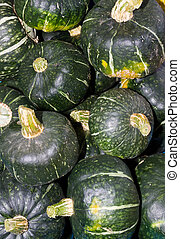 Buttercup winter squash on display - Winter buttercup squash...