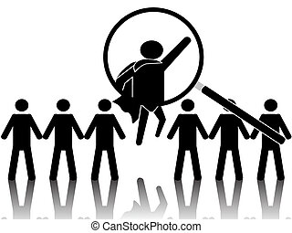 superhero - the concept of superhero standing out from crowd