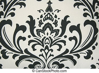 Black Damask Pattern - Black damask pattern on white...