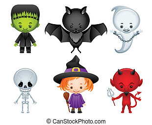 Halloween icons - Vector illustration - Halloween characters...